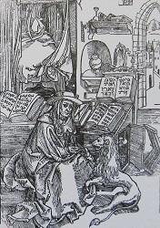 Ο Άγιος Ιερώνυμος σε ώρα μελέτης